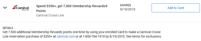 Carnival Cruise Amex Offer
