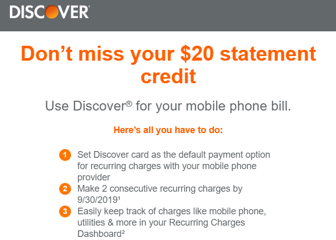 discover phone bill credit
