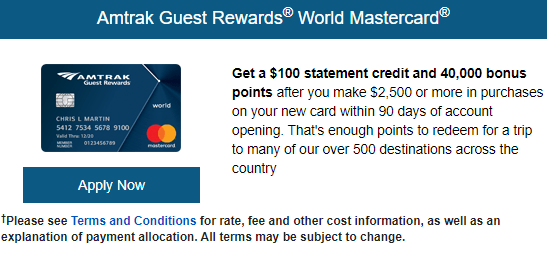 Amtrak Card 40K $100 bonus