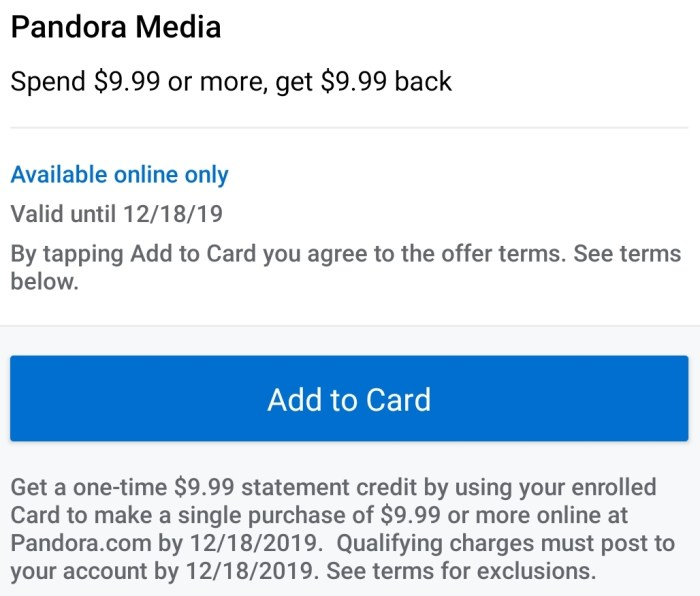 Pandora Amex Offer