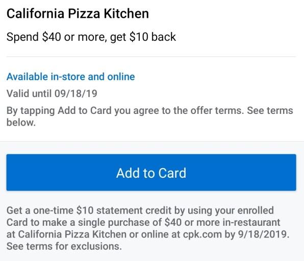 California Pizza Kitchen Amex Offer