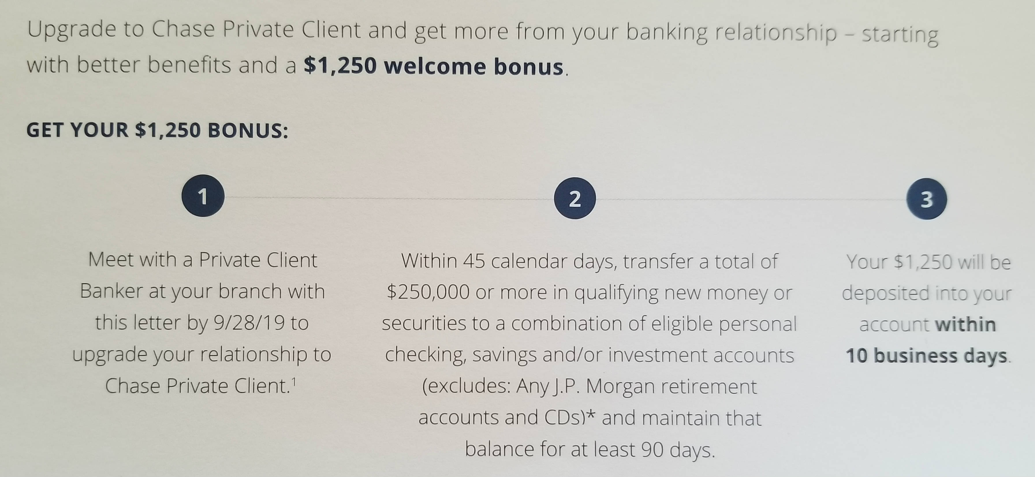 Upgrade to Chase Private Client, Get $1,250 Bonus (Targeted