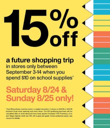 target coupon 15%
