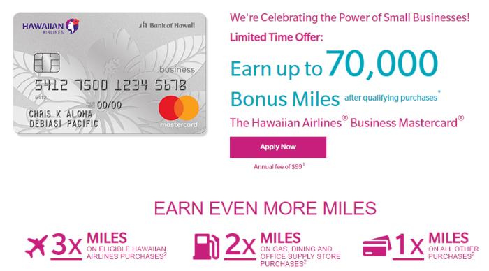 hawaiian business card 70k bonus