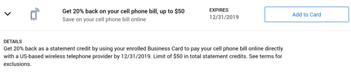 Cell Phone Bill Amex Offer