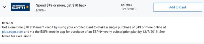 ESPN+ Amex Offer