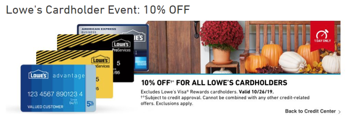 lowe's card 10% off
