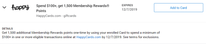 Happy Gift Cards Amex Offer