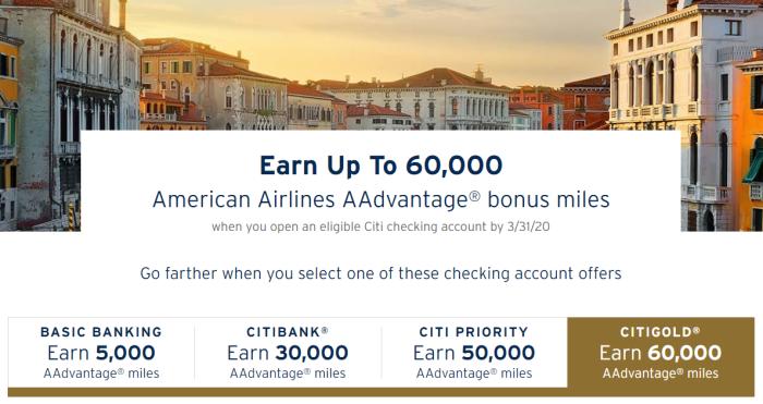 citi checking aa miles bonus