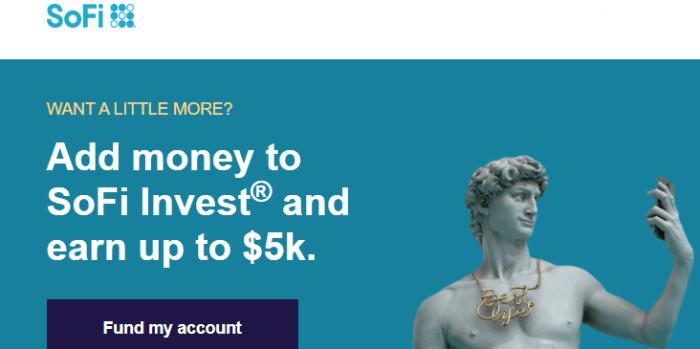 SoFi Invest funding bonus