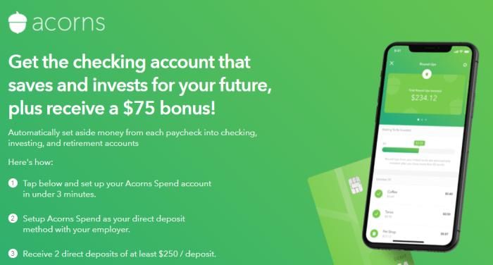 acorns direct deposit bonus