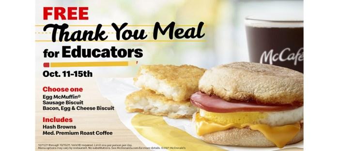 Free McDonald's Meals for Teachers