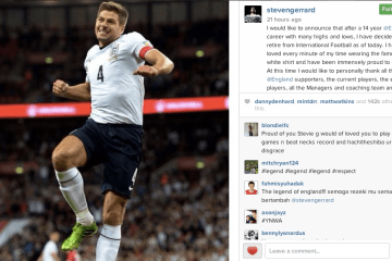 Steven Gerrard Instagram announcement
