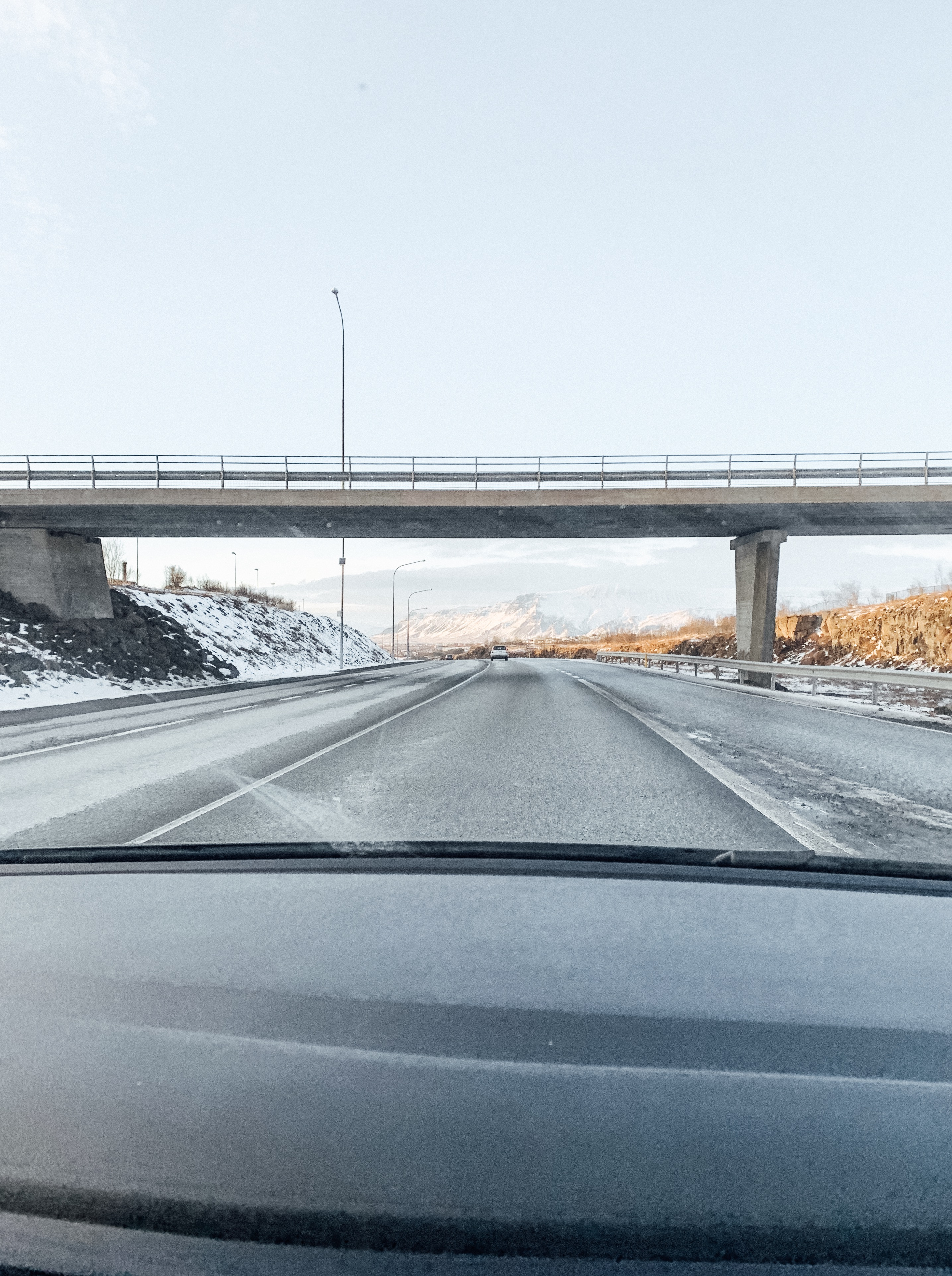 Driving into the suburbs on Reykjavik.