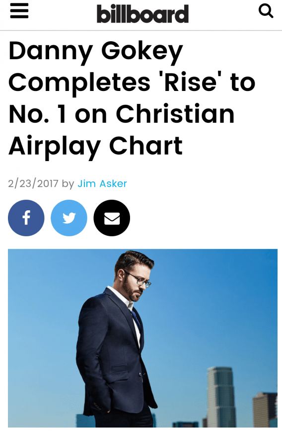 Billboard article on Danny gokey's #1 Rise