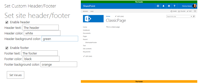 Custom modern page header and footer using SharePoint