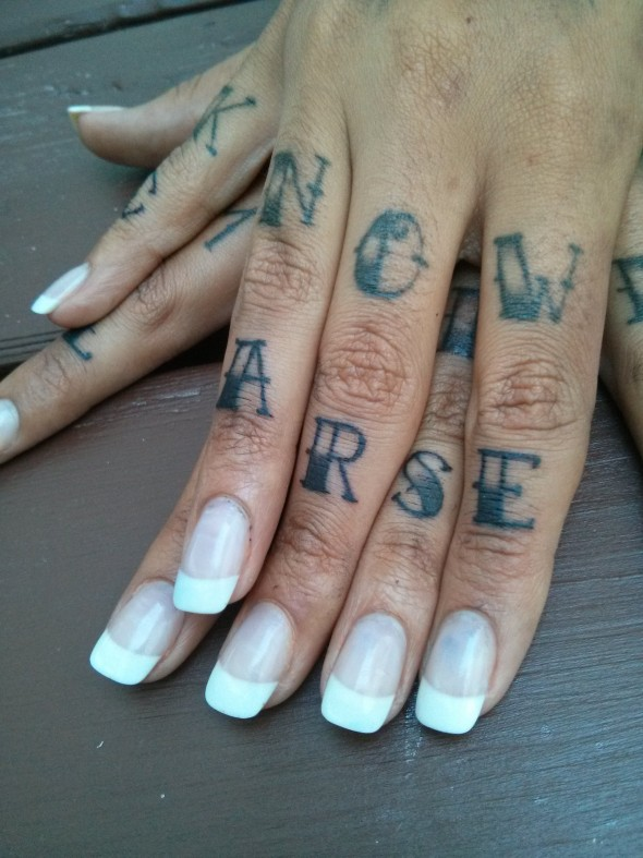 """Tattoos that read """"Now arse"""""""