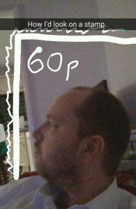 Dan as a postage stamp Snapchat