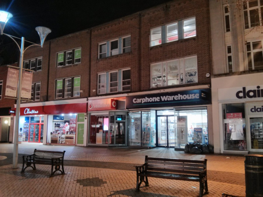 Chelmsford at night - Clintons and Carphone Warehouse