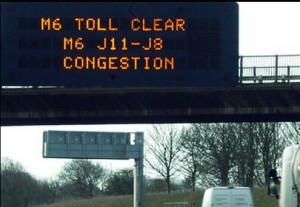 The M6 toll clear road sign. Taken from an article by DannyUK.com