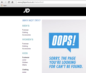 JD Sports Chelsmford 404 page