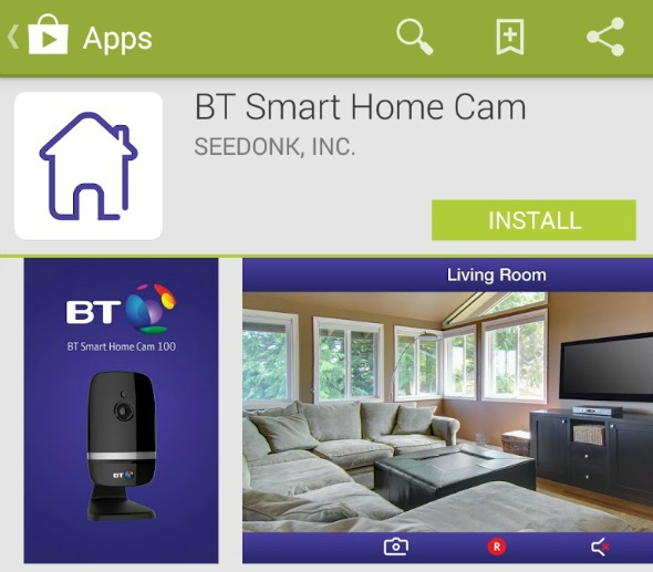 BT Smart Home Cam 100 review - The Android app - Taken from a review by DannyUK.com