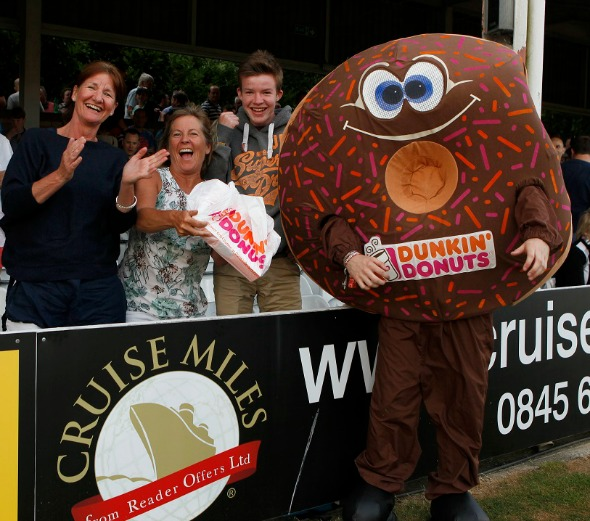 Essex Eagles Dunkin Donuts mascot at the recent game against Surrey Lions