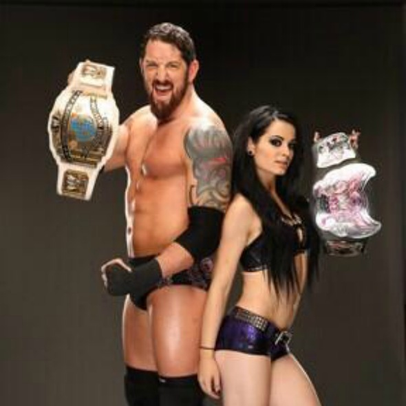 WWE UK wrestlers - Bad News Barrett and Paige