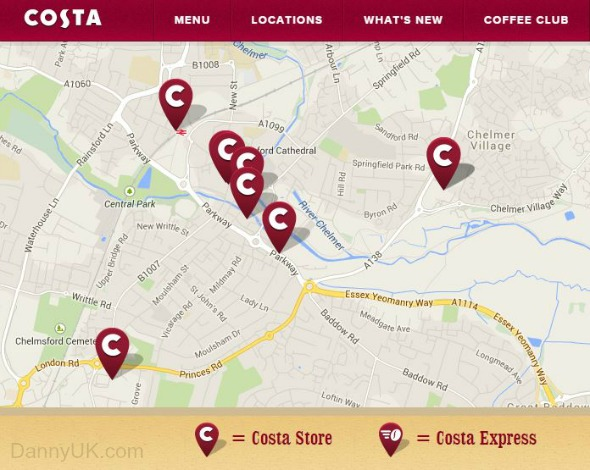 Costa Coffee locations in Chelmsford