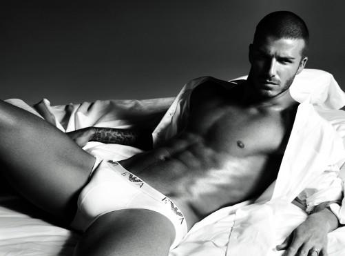 David Beckham poses in his underwear