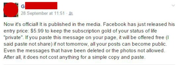 Facebook Gold. This is the original status update about Facebook Gold that was doing the rounds. Taken from an article by DannyUK.com