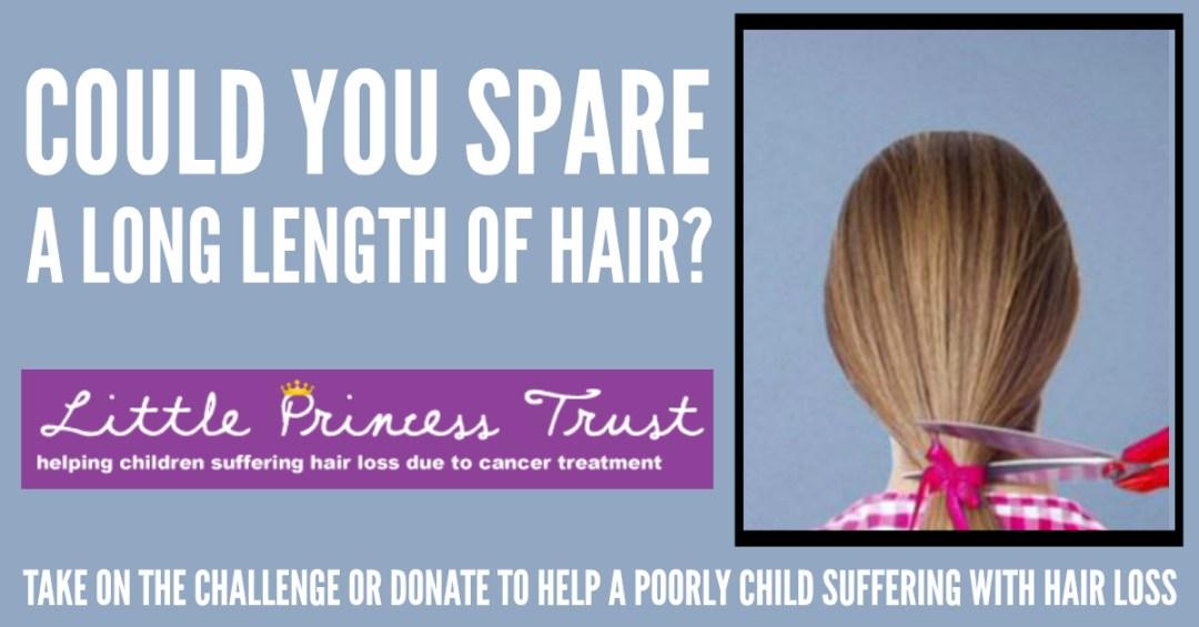 #NoHairToSpare or #HairToSpare for Little Princess Trust Facebook header