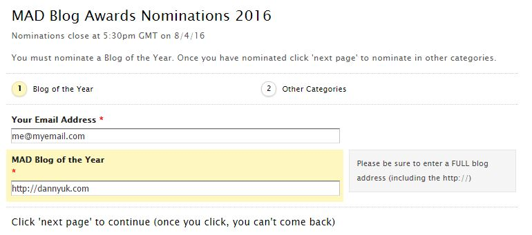 MAD Blog awards nominations - Please vote for me in the MADs 2016