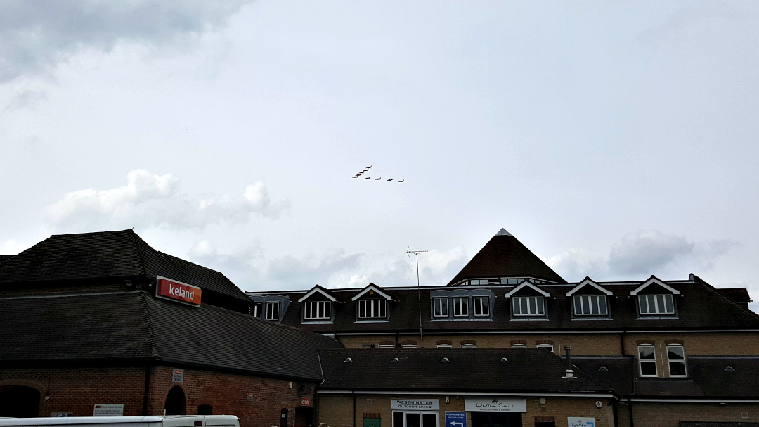 The Red Arrows over Chelmsford - distant and on a cloudy day