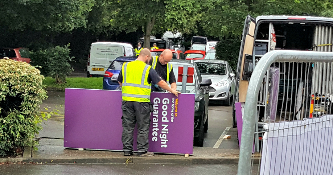 Premier Inn Good night Guarantee - ironically disrupted by workmen cutting through the sign