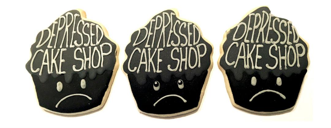 Depressed Cake Shop grey cakes