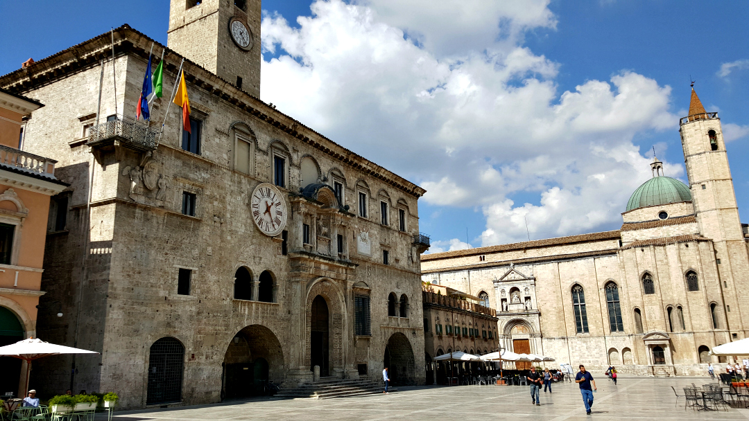 "The Palazzo dei Capitani del Popolo (""Palace of the People's Captains"") in Piazza del Popolo - Ascoli, Piceno"
