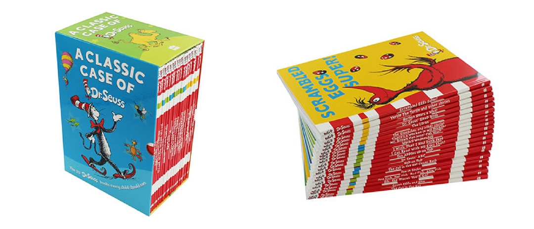 Dr Seuss box set from The Works showing the books available