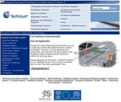Spoof website for the car parking key fob scam