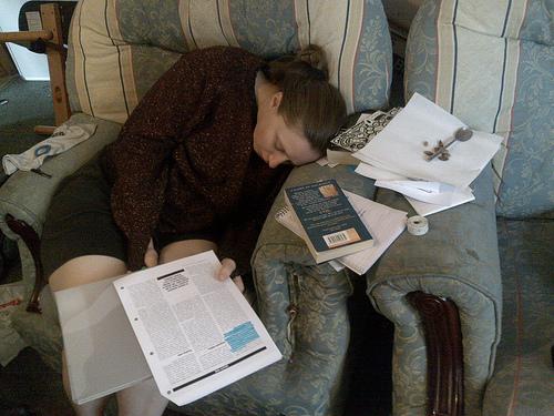 Ruth falls asleep in her work