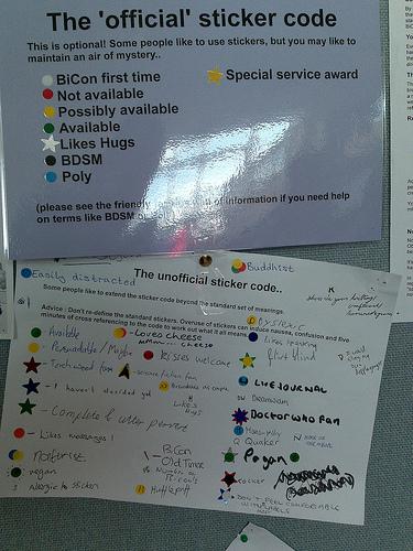 The sticker code at BiCon 2009