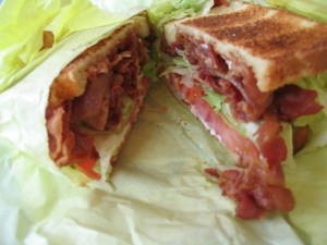 A delicious-looking BLT. Mmm, bacon.