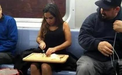 Chopping onions on a tube train