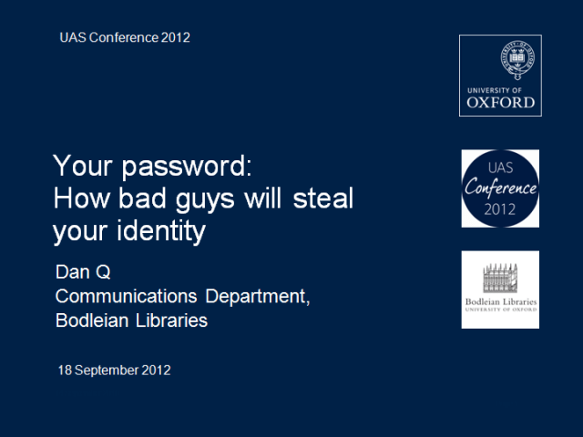 Your password: How bad guys will steal your identity