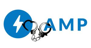 AMP logo in handcuffs