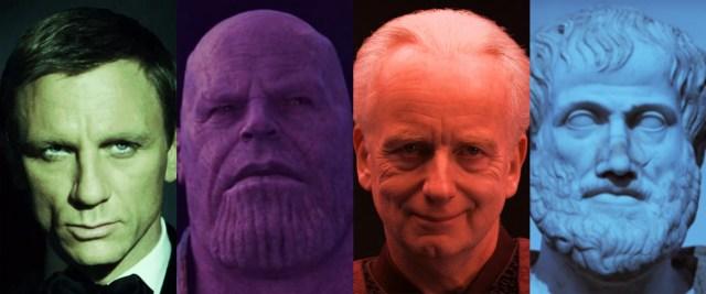 Bond, Thanos, Palpatine, Thespis