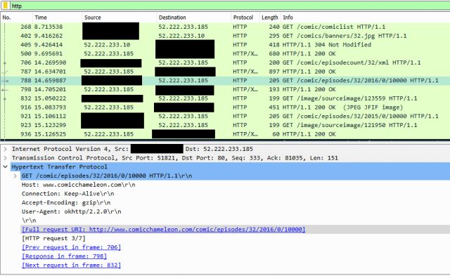 Wireshark output showing Comic Chameleon traffic.