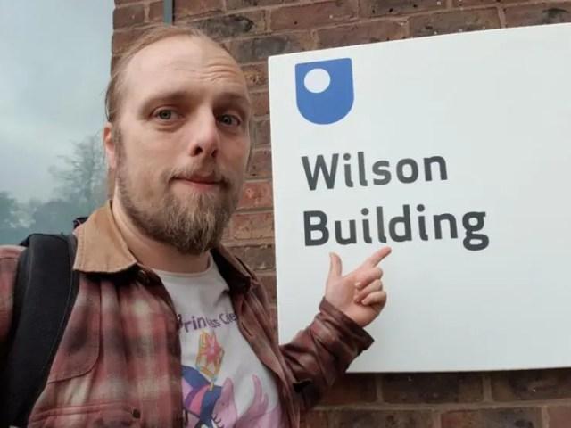 Dan outside the Wilson Building, Open University Campus, Milton Keynes