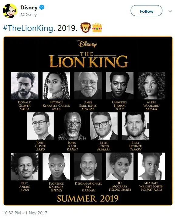"""Disney's tweet: """"#TheLionKing. 2019. ??"""""""