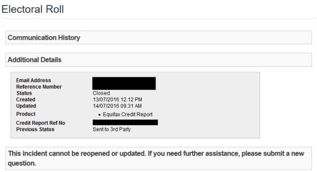 Equifax close my request